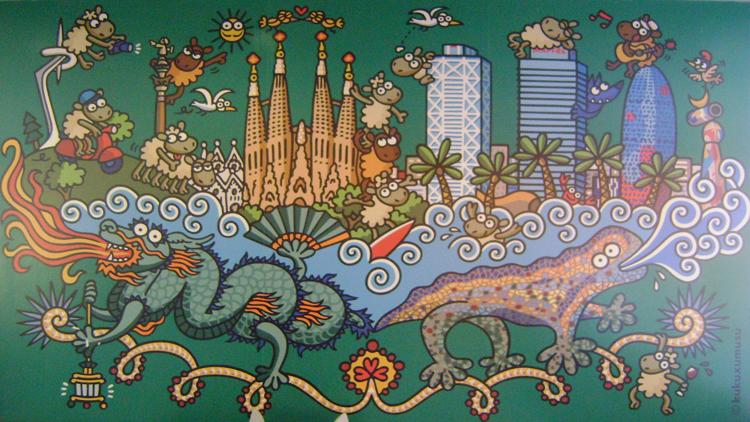 Arte linda com várias referências da cidade na área de lazer do hostel
